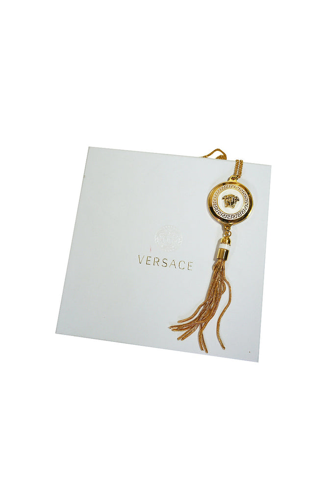 Versace Gold & White Medusa Medallion Chain Necklace