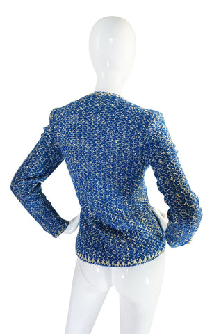 Beautiful 1960s Blue and Silver Knit Adolfo Knit Jacket