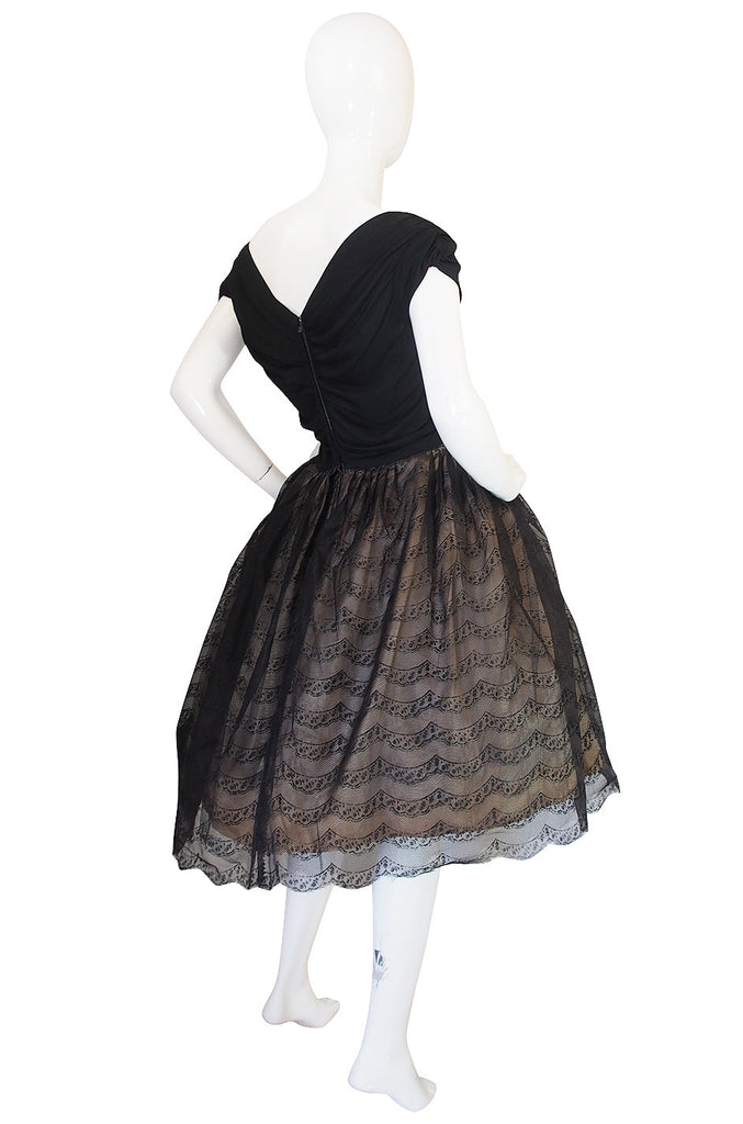 1950s Silk Jersey & Tulle Lace Full Skirted Dress