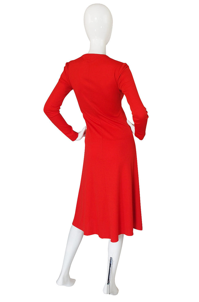 1970s Stephen Burrows Red Jersey Dress