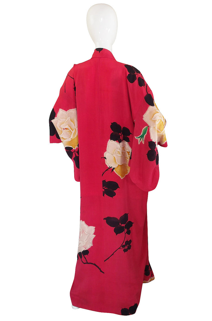 1930s Floral Hand Painted Silk Red Kimono