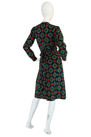 Early 1970s Yves Saint Laurent Wrap Print Skirt & Top Set