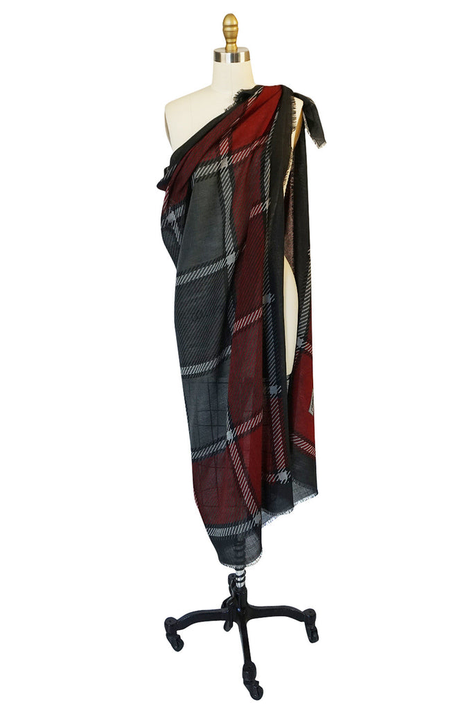 1970s Yves Saint Laurent Huge Plaid Fine Silk Wool Scarf