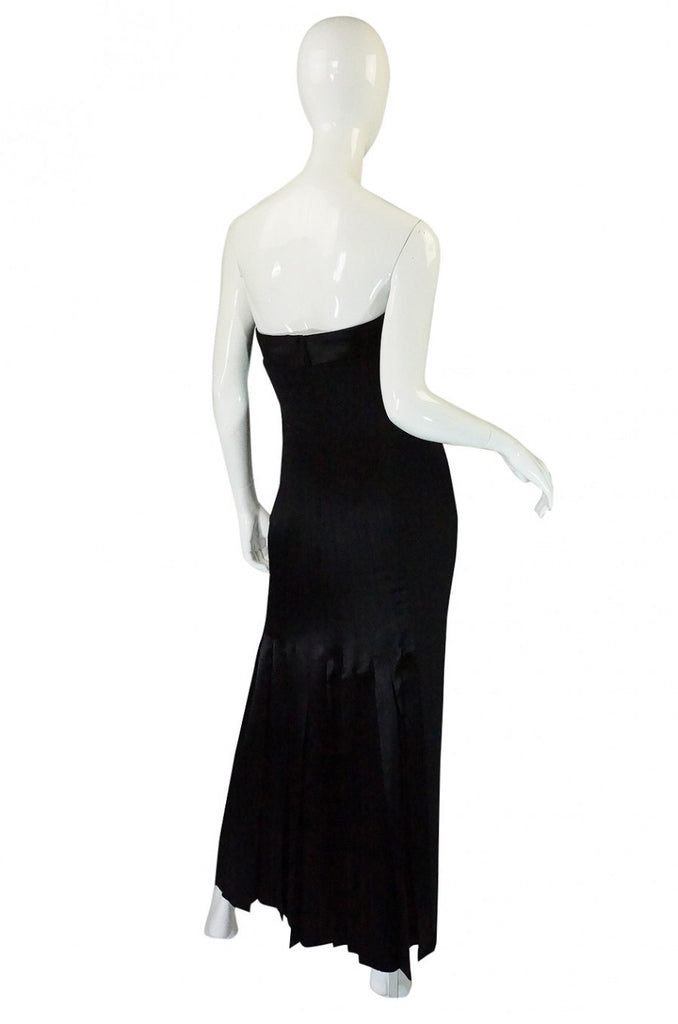 1980s Valentino Pleated Back Silk Gown
