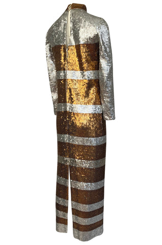 1970s Edward Parnes Striped Silver & Copper Densely Sequin Dress