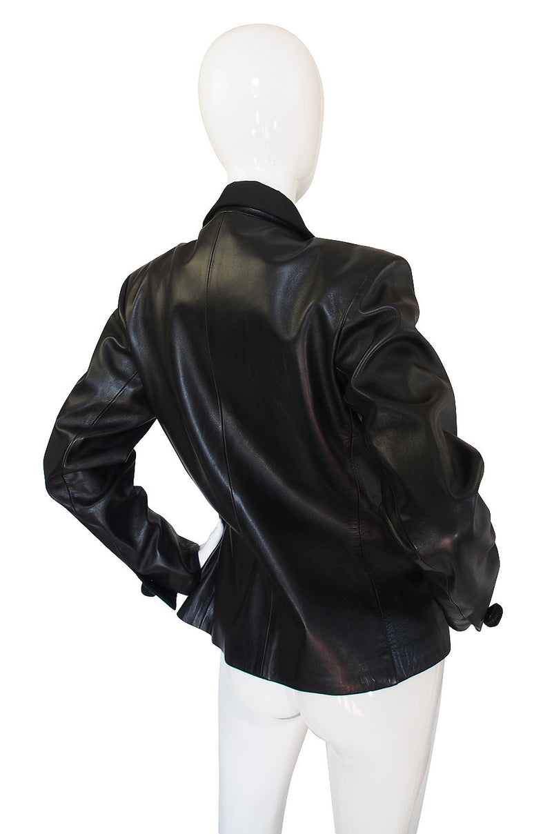1980s Yves Saint Laurent Leather Le Smoking