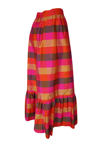 1960s Unlabeled Dramatic Pink Plaid Thai Silk  Ruffled Skirt