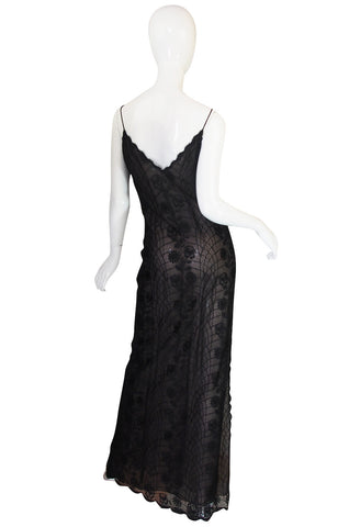 1970s Fine Lace Sexy James Galanos Couture Slip Dress