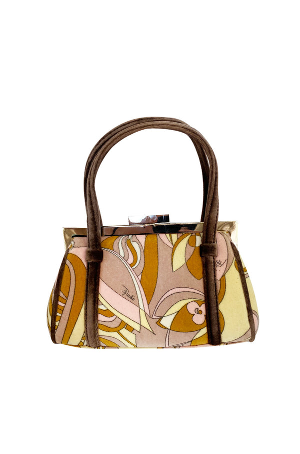 1990s Pucci Pink and Taupe Print Frame Top Handle bag - 25% OFF TAKEN AT CHECKOUT