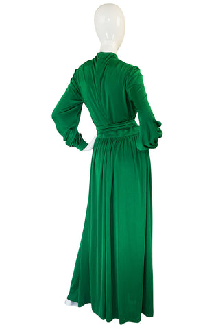 1970s Silk Jersey Emerald Green La Mendola Maxi Dress