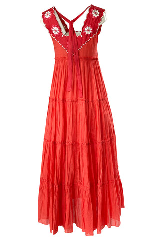 Fall 2019 Innika Choo Tiered Coral Cotton Full Length Embroidered Sun Dress