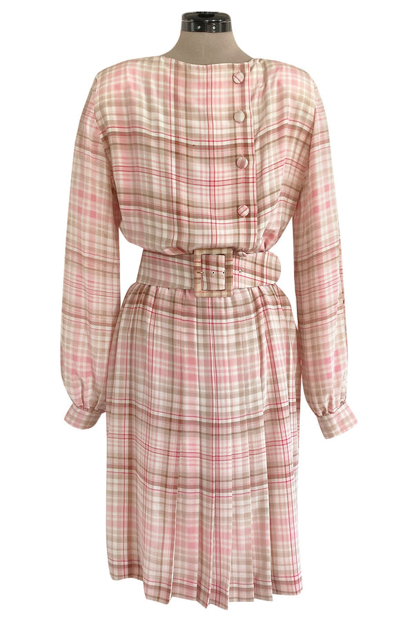 1980s Oscar De La Renta Pink Printed Belted Silk Dress & Boucle Coat w Silk Lining Set
