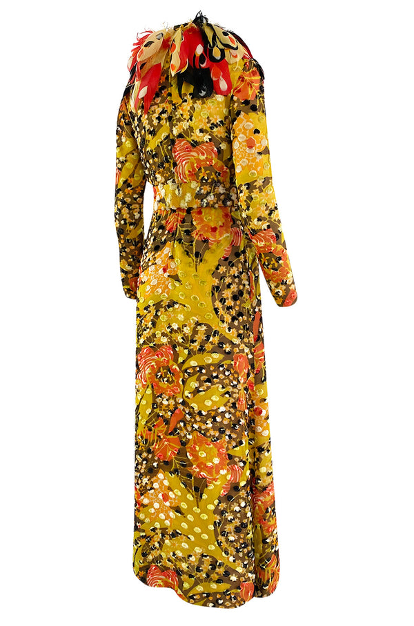 Famous 1971 Bill Blass Vogue Featured Yellow Chenille & Silk Maxi Dress w Elaborate Feather Collar