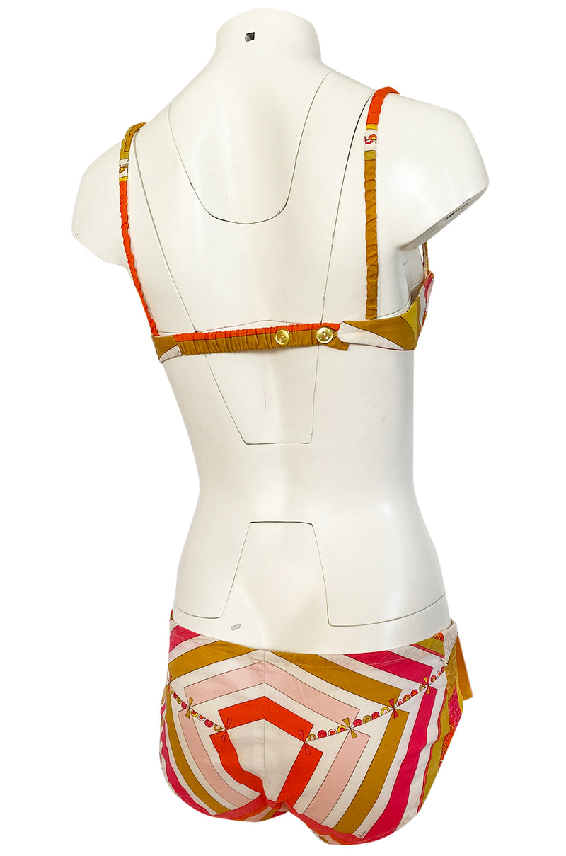 1968 Emilio Pucci Two Piece Pastel Colored Print Cotton Bikini Swimsuit