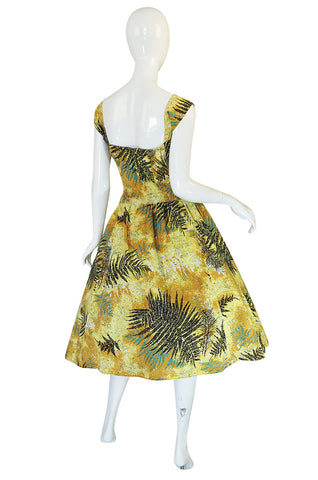 1950s Kamehame Yellow Cotton Print Hawaiian Sun Dress