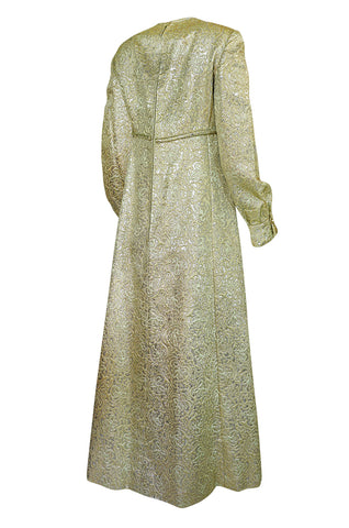1960s Malcolm Starr Green & Gold Metallic Brocade Maxi Dress
