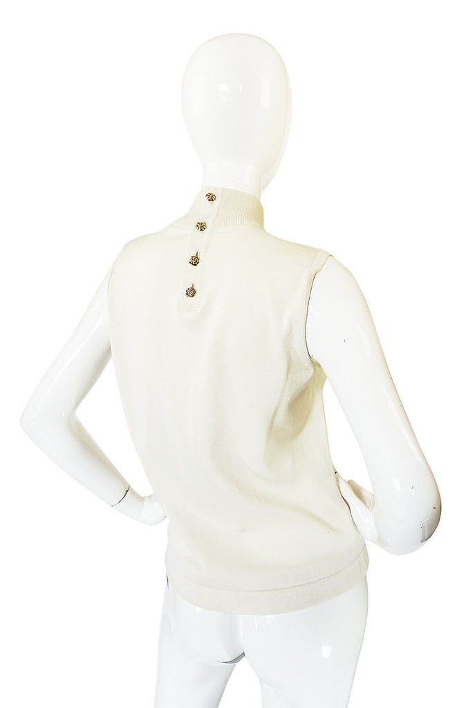 1990s Cream Chanel Cashmere & Silk Knit Shell Top