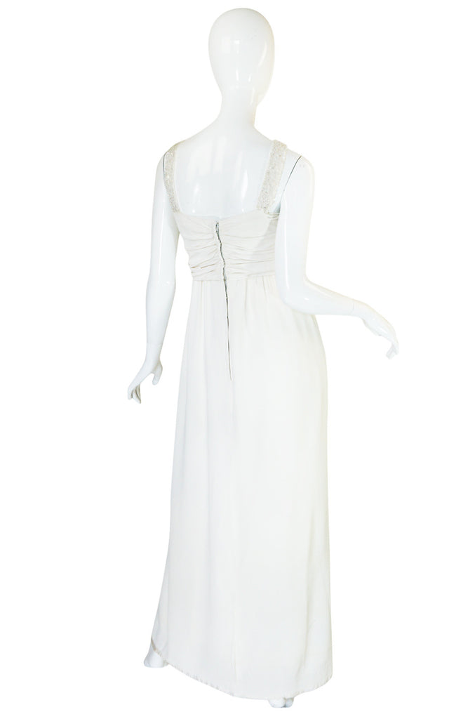 1930s Cream Beaded Silk Crepe Goddess Dress