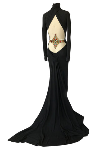 S/S 2001 Jean Louis Scherrer Haute Couture Backless Jewelled Runway Dress