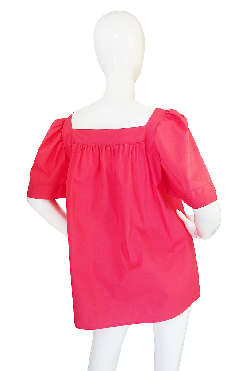 c1977 Yves Saint Laurent Pink Russian Peasant Top