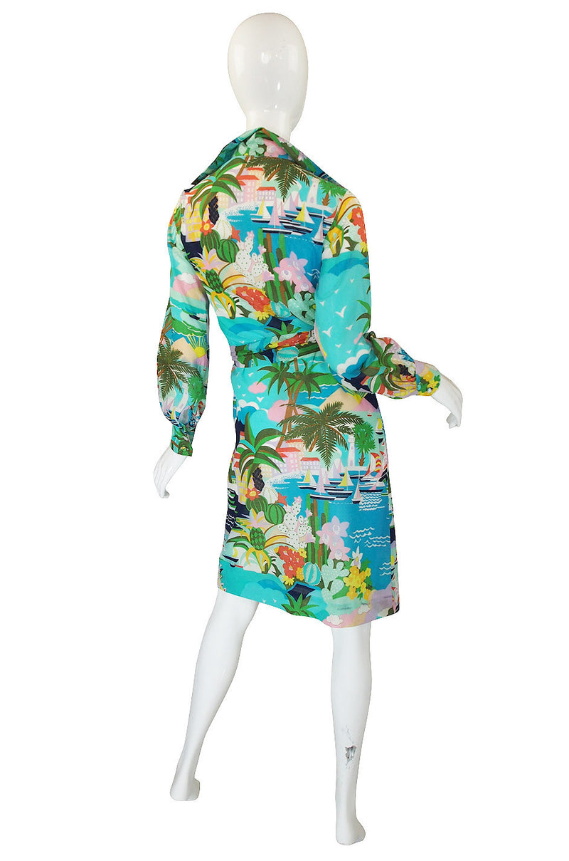 1970s Printed Blue Lanvin Seaside Dress