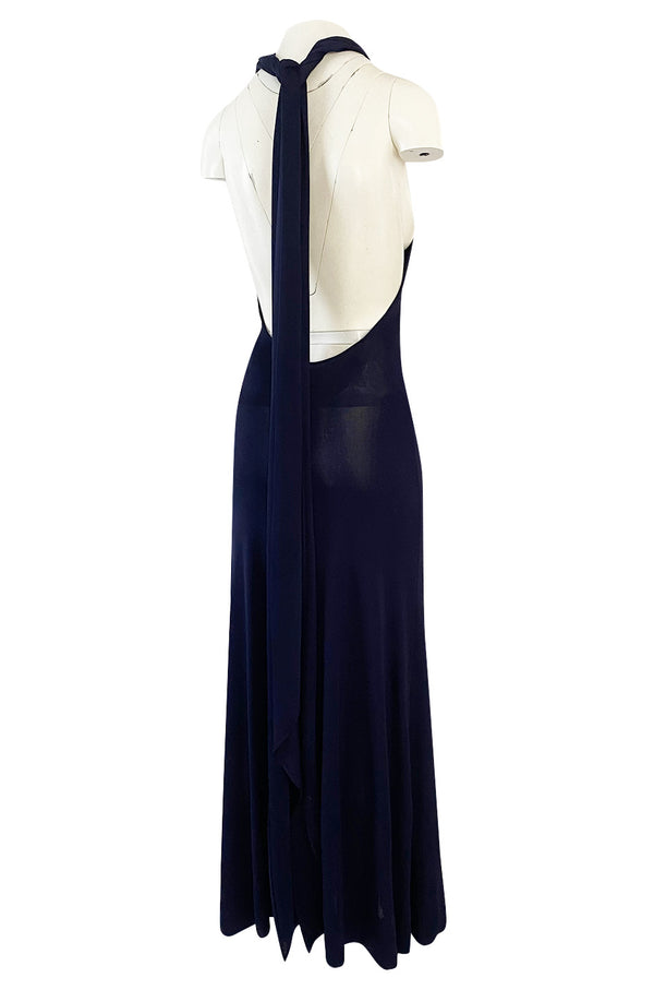 Important 1977 Halston Couture Navy Multi-Way Silk Jersey Plunge Dress w Extra Long Ties