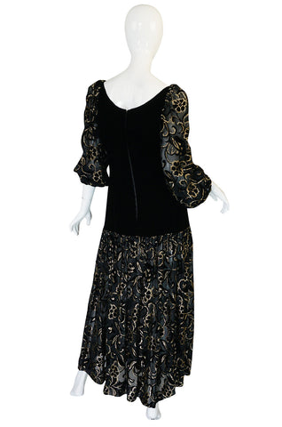 Early 1980s Yves Saint Laurent Gold & Black Velvet Dress