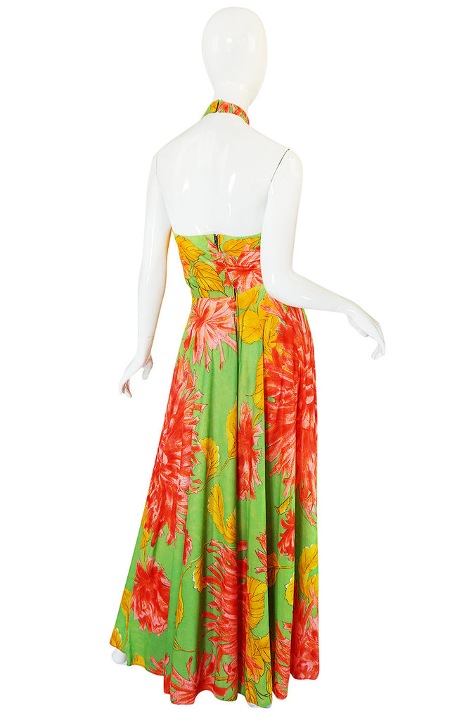 1970s Backless Nylon Jersey Tropical Halter Dress