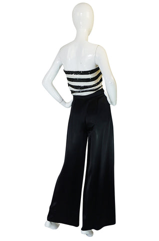 c1966 Yves Saint Laurent Sequin Stripe Top & Satin Pant
