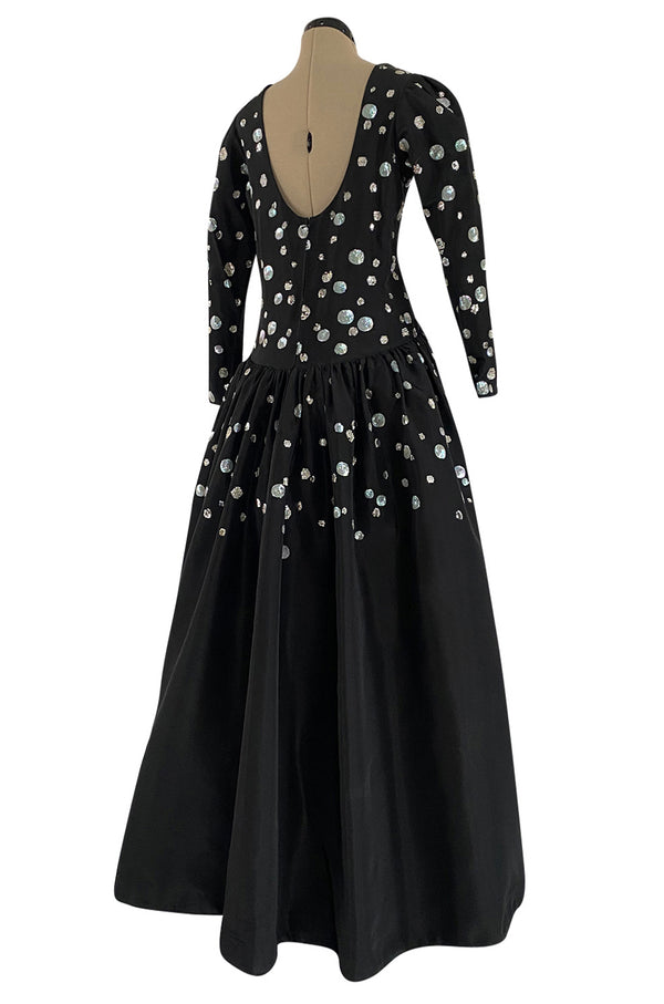 Late 1970s Possible Givenchy Black Silk Taffeta Haute Couture Dress w Sequin & Rhinestone Detailing