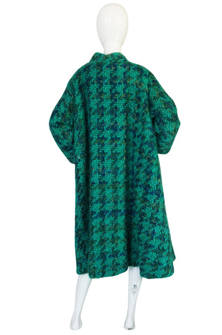 Fabulous 1960s Sybil Connolly Green Mohair Swing Coat