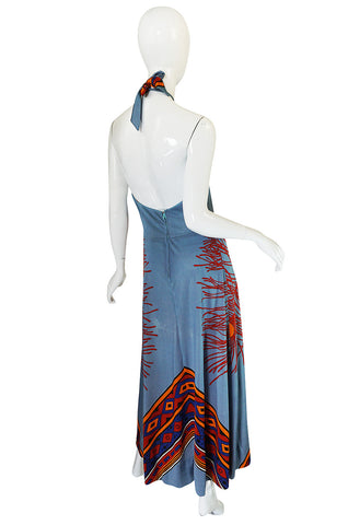 1970s Coral Printed Blue Jersey Halter Maxi Dress