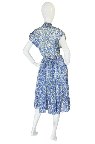 1940s Blue & White Chiffon Joker Print Novelty Dress