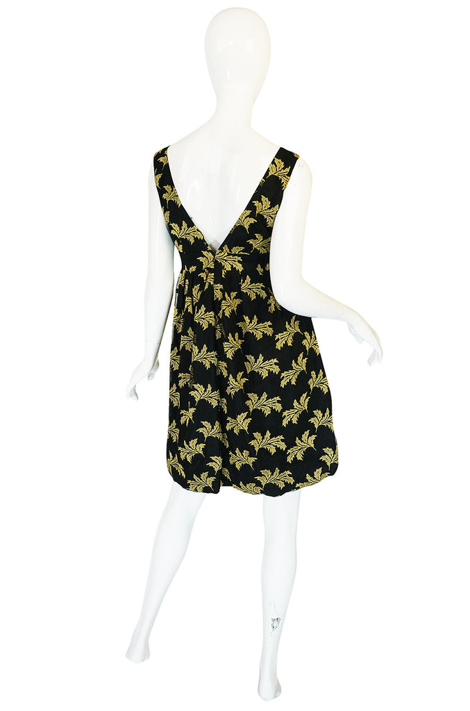 Early 2000s Black & Gold See by Chloe Leaf Dress