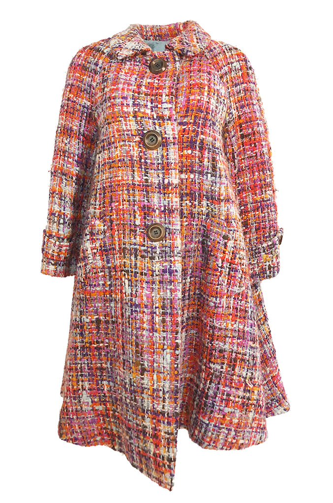 fe76c9f1b0d3 Early 1960s Christian Dior Pink & Coral Textured Weave Boucle Swing Coat