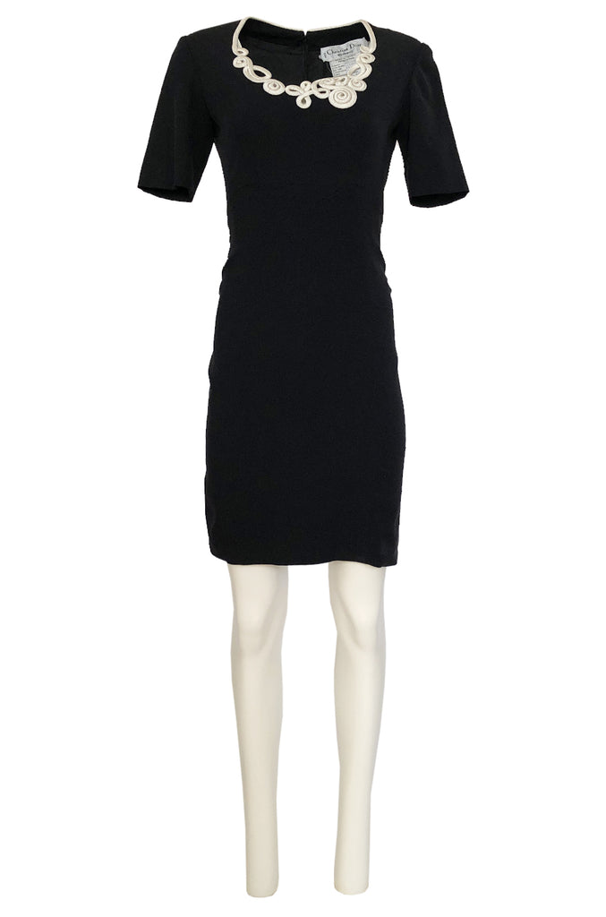 1990s Christian Dior Cord Detailed Black Dress w Numbered Label