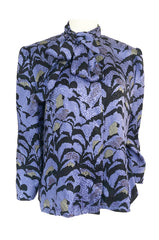 1980s Jean Louis Scherrer Blue Printed Silk Top w Asymmetrical Tie Neck