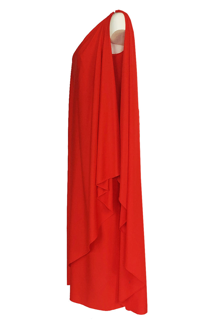 1978 Halston Iconic One Shoulder Red Draped Jersey Halston Dress