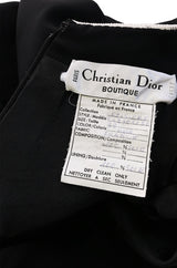 Super Sale! 1990s Christian Dior Cord Detailed Black Dress w Numbered Label