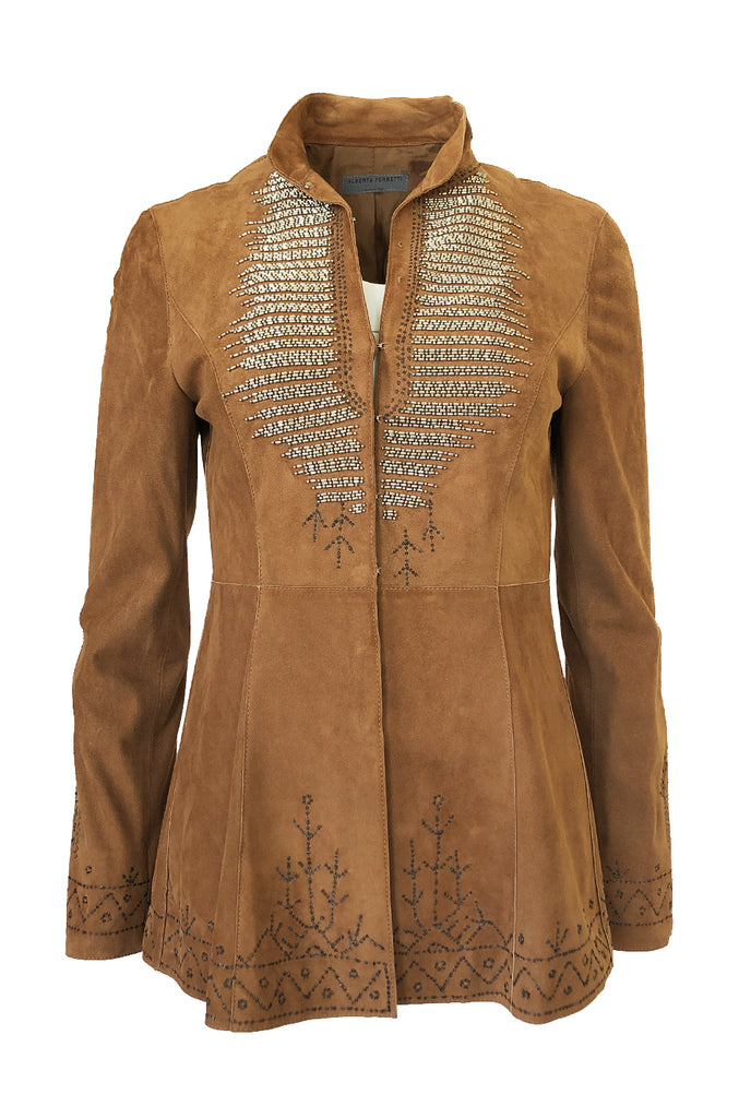 1990s Alberto Ferretti Butter Soft Detailed & Beaded Suede Jacket