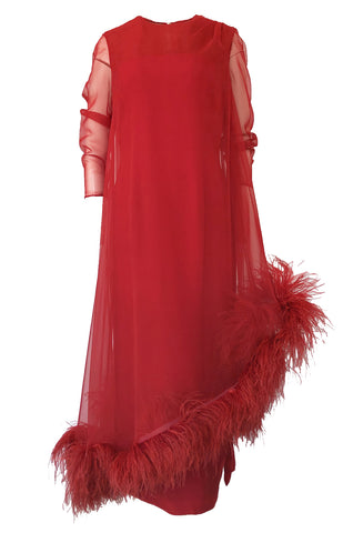 1960s Unlabeled Red Silk Chiffon Caftan Dress w Red Feather Trim