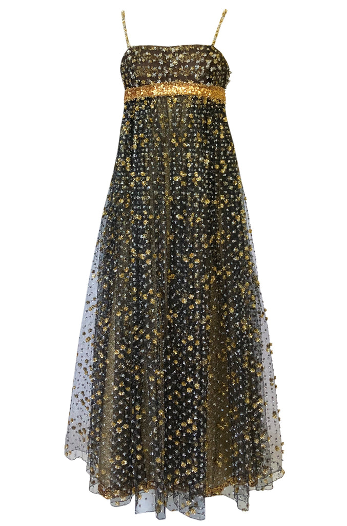 1960s James Galanos Couture Metallic Gold and Silver Detail on Net Dress