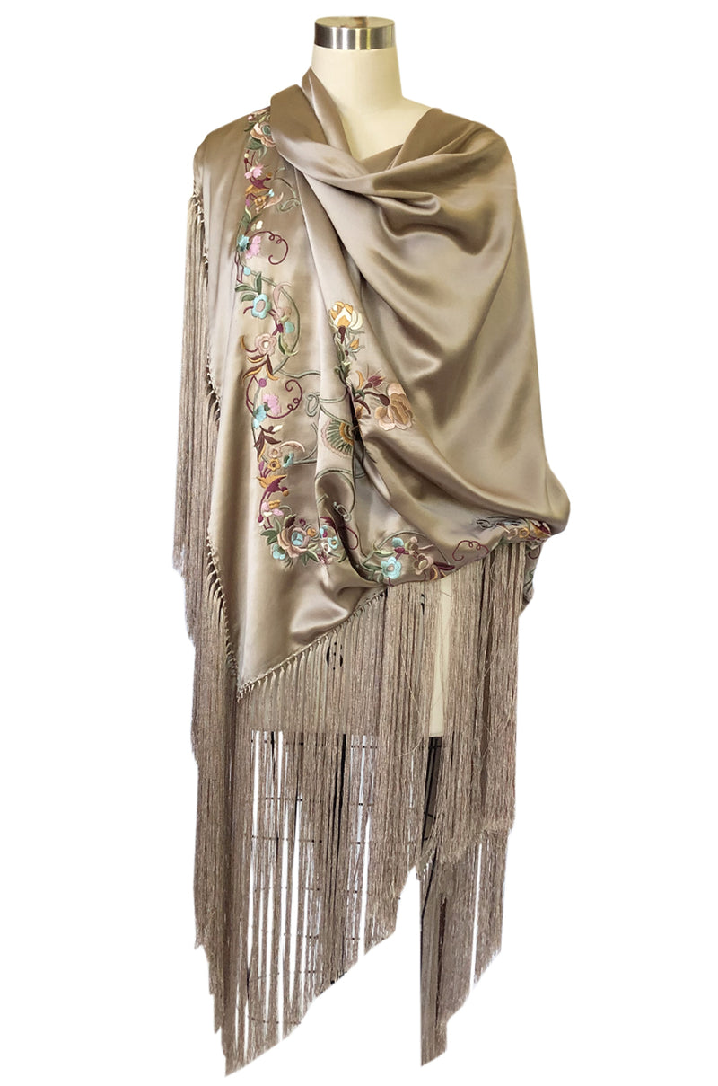 1990s John Galliano Gold Toned Silk w Fringe & Embroidery Couture Scarf
