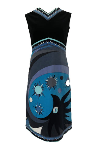 b1cf19fc13e 1960s Emilio Pucci Blue   Purple Beautiful Sun Print Velvet Dress