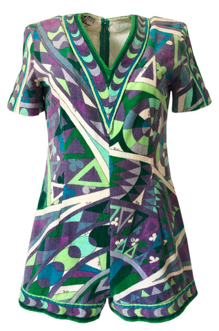 Rare 1960s Emilio Pucci Terry Cloth Pale Purple & Green Print Playsuit