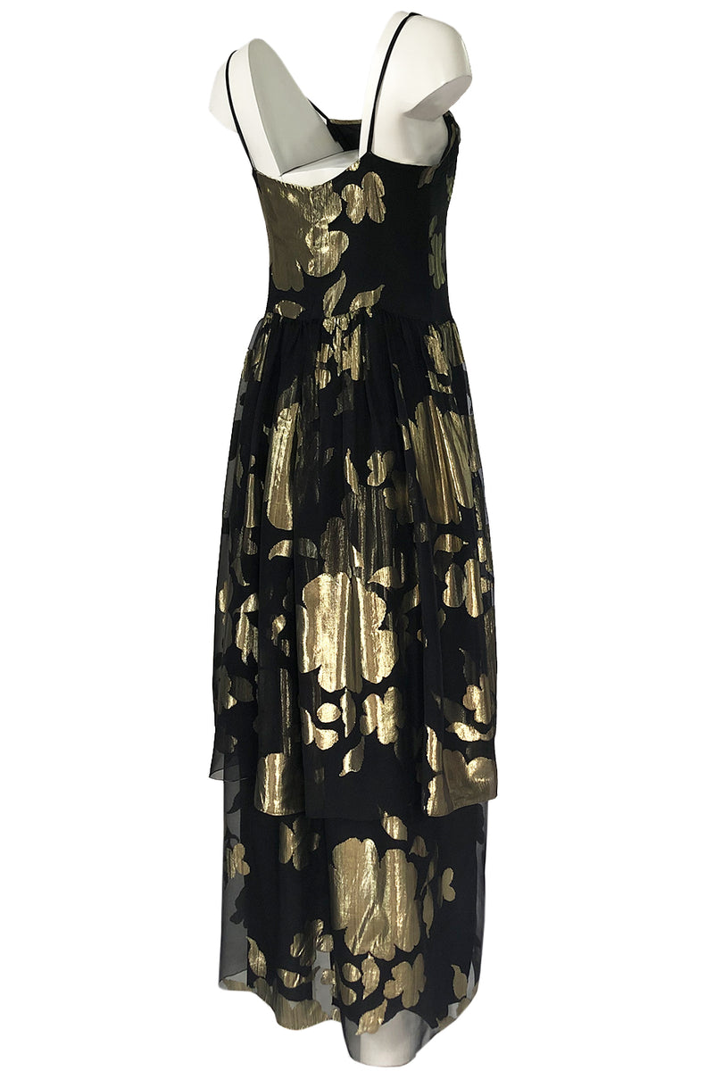 1970s Hanae Mori Gold Metallic Lame Floral Printed Black Silk Chiffon Dress