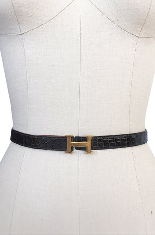 1974 Hermes Authentic Brown Crocodile and Gold H Belt