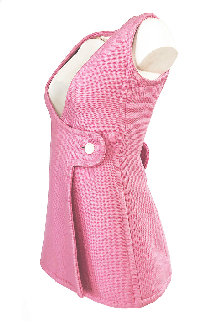 Fall 1969 Andre Courreges Haute Couture Pink Micro Mini Dress or Tunic