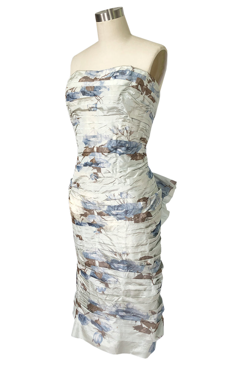 1950s Philip Hulitar Couture Floral Printed Silk Knife Pleated Dress