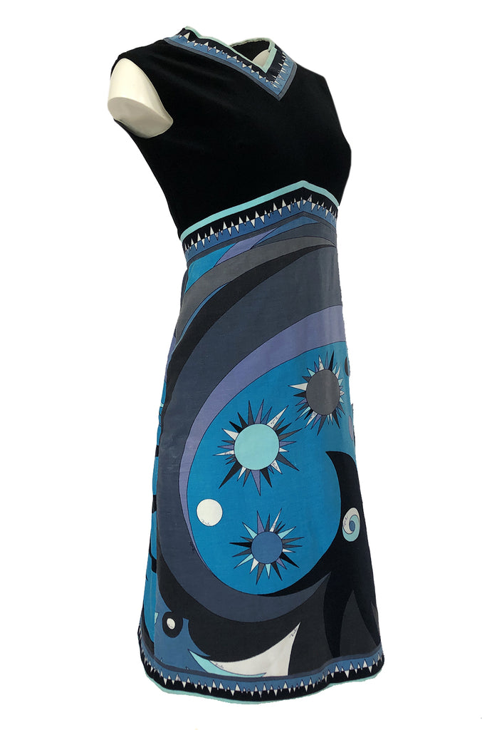 1960s Emilio Pucci Blue & Purple Beautiful Sun Print Velvet Dress